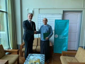 Mr. Hla Maung Thein and Dr. Aaron Russell exchanged Project MOU