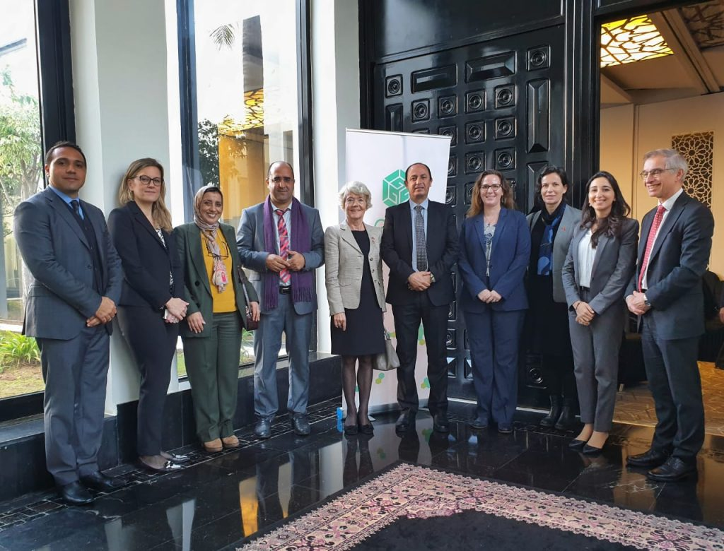 From left to right : M. Abdelmajid Bennis (GGGI Morocco), Ms. Fenella Aouane (GGGI HQ), Ms. Nadia Zine (Ministry of Energy, Mines and Environment) , M. Rachid Tahiri (Ministry of Energy, Mines and Environment -Department of Environment), HE. Merethe Negaard, Ambassador of Norway in Morocco, M. Bouzekri Razi (Ministry of Energy, Mines and Environement - Department of Environment), Ms. Nicole Perkins (GGGI Morocco), Ms. Nilsen Tijana Balac (Norway Embassy), Ms. Lina Zemmouri (GGGI Morocco), M. Sigurd Klakeg (Ministry of Climate, Norway)